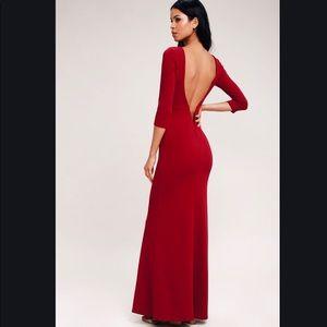 NWT Kymber Wine Red Backless Long Sleeve Maxi